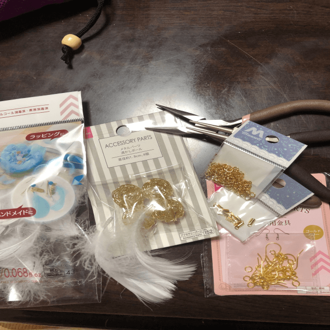 ワイヤーボールピアス道具と材料